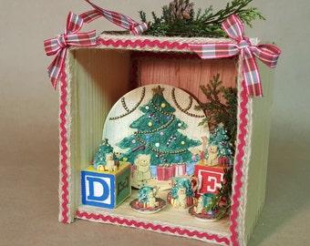 Christmas Holiday Shadow Box Miniature Teddy Bear Tea Set Picnic Scene with Toy Blocks Natural Ribbon  Rick Rack  Faux Foliage Free Shipping