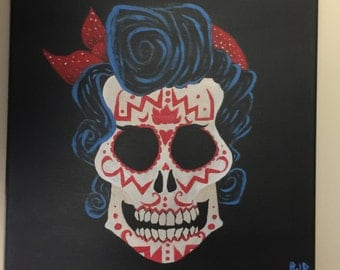Female Sugar Skull Painting