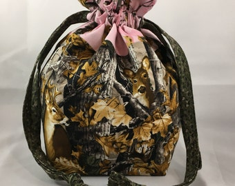 Project Bag for Knitting, Small Drawstring Pouch, Fabric Lined Purse, Perfect Sock Bag, Kids Gift, Daughter Birthday, Deer Hunter Camo