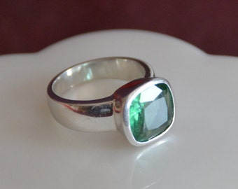 Chunky Green Quartz Sterling Silver Statement Ring