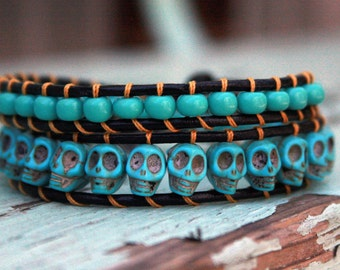 Beaded Leather Double Wrap Bracelet with Turquoise Skull Beads