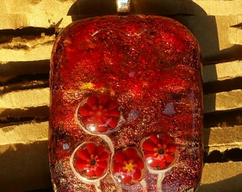 Fused glass pendant-Red, Gold, Flowers