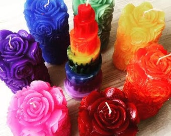 Handmade Rose Pillar Candle (All colours available)