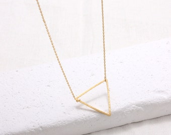 Large Open Triangle Pendant Necklace, gold, rose gold, silver