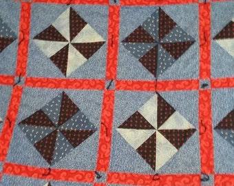 Brilliant Blue Pinwheel Quilt