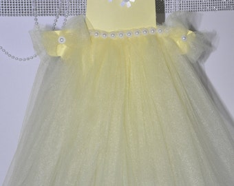 Bright Yellow Baby or Bridal Shower Tulle Centerpiece Tutu Flowers Pearls