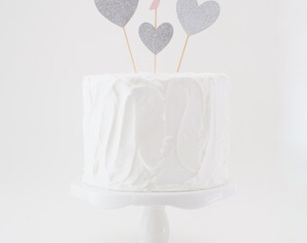Numbered Cake Topper with Heart Topper Accent