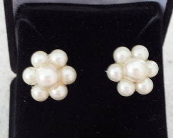 Petite Faux Pearl Vintage Earrings - Perfect for Flower Girl or Sweet 16 - converted to PIERCED