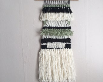 White/Charcoal/Jade Wall Tapestry Weaving