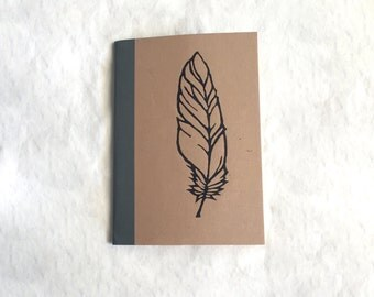 Personalized A6 Muji Notebook: Woodcut Vintage Feather Print