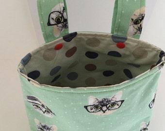 Bicycle handlebar bag bicycle basket wheel green cat