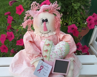 Shabby Chic Breast Cancer Awareness Raggedy Friend - Personalize!