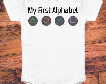 My First Alphabet - Playstation - Funny Gamer Baby Onesie