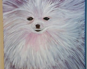 """Colorful Pomeranian 20""""x16"""" canvas hand painted"""