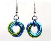 Single Knot Earrings - Lime, Turquoise, Blue colors - Elegant Lightweight Earrings - Anodized Aluminum - Chainmaille - Simple Knots Hoops