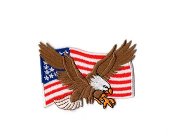 America Flag Patch - Eagle USA flag Embroidered Iron on Patch
