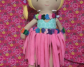 Hula Girl Rag Doll