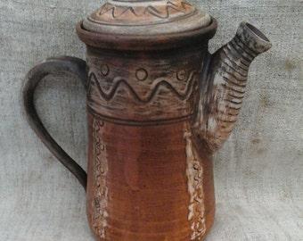 ceramic teapot, handmade pottery, rustic wedding gift, large ceramic teapot, stoneware teapot, pottery teapot, anniversary gift brown teapot