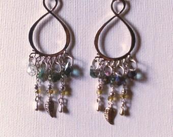 Rainbow cluster earrings