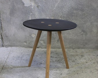 Large IDA - side table, occasional table, stool - black ~ old wood