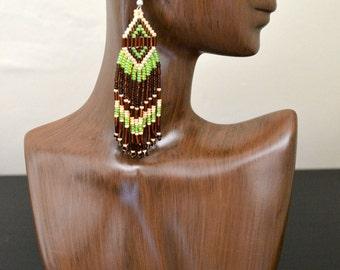Long Earth-Tone Beaded Earrings