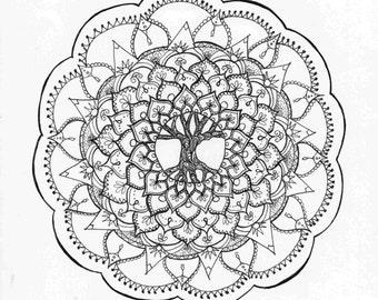 Tree Of Life Zentangle Mandala Adult Coloring Page