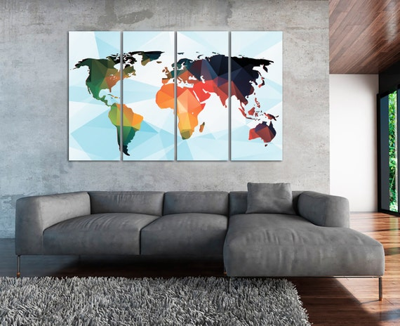 Large Colorful World Map Panels Poster Polygonal By