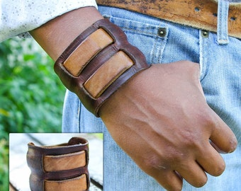 Dual Strap Two Tone : Wide Leather Cuff Bracelet