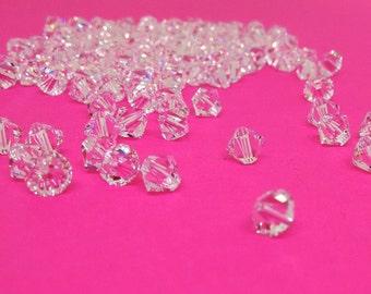 6mm Swarovski Xilion Bicone, 5328 Crystal Clear Bead, Bracelet Findings, Loose Beads, Swarovski Elements, Diy Jewelry,Jewelry Finding,YC0021