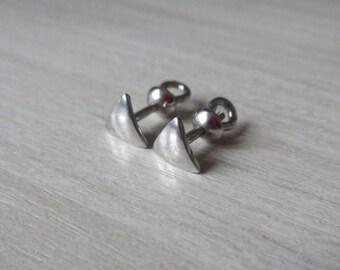 6mm Triangle Stud Earrings 925 Sterling Silver Screw Back