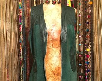 Vintage Green Leather Vest