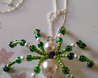 Beaded spider necklace