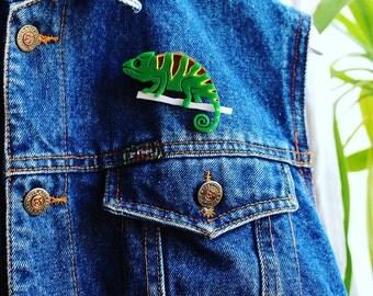140 Сhameleon Acrylic Brooch - Handmade Plexiglas Brooch - Сhameleon Jewelry - Сhameleon Ornament
