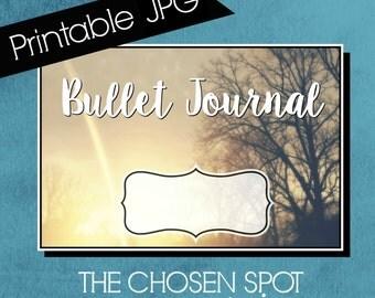 Bullet Journal Label, notebook label, bullet journal accessories, bujo sticker, sunset, tree, printable label, canandaigua, the chosen spot