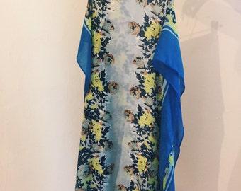 Vintage Bright Blue Floral Scarf