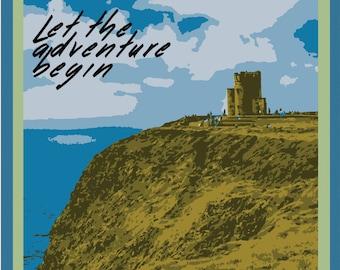 Cliffs of Moher Irish Travel Poster