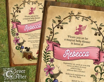Enchanted Forest Invitation Enchanted Garden Invite fairy woods baby shower whimsical Printed It's a Baby Girl pink purple woodland