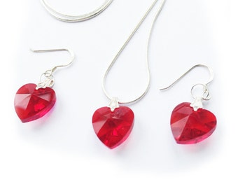 Red heart crystal necklace and earrings set