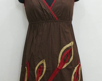 Brown cotton short summer dress