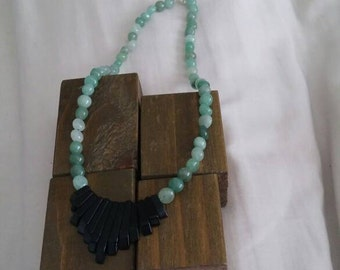 Black Agate and Green Aventurine Necklace