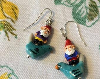 Flying Gnomes on Birds Earrings