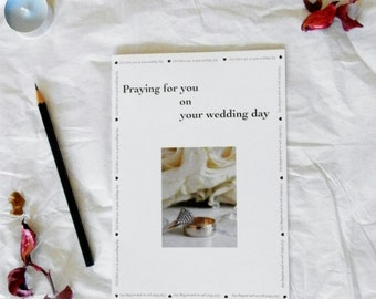 "Wedding card with verse, ""Praying for you on your wedding day"", Christian wedding card, Original photo – wedding rings, flowers"