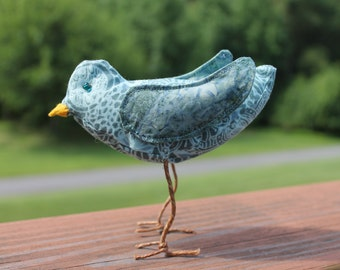 Shades of Blue Fabric Bird Sculpture