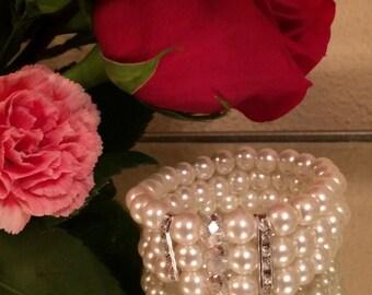Three strand Pearl Bracelet, Pearl, Crystal, and Rhinestone Bracelet, Bridal Jewelry Bracelet, Wedding Jewelry