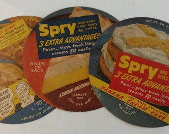 Spry Shortening Can Lid Recipe Cards Lot of 3