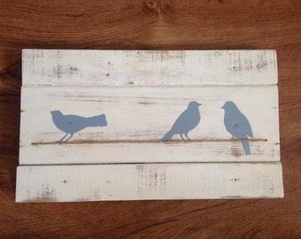 Blue Birds on Wire - Pallet Wood Art