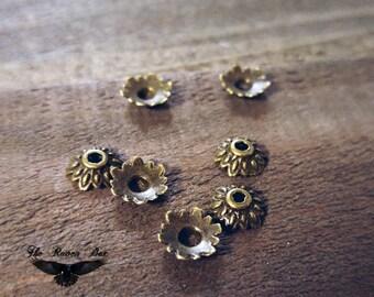 Bronze Bead Caps 8mm Flower Bead Caps Antiqued Bronze Metal Bead Caps Ornate Bead Caps 10 pieces