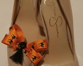 Halloween black cats shoe bows shoe accessories with black buttons and black tassels
