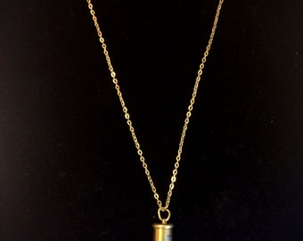 Crystal Shell Casing Necklace on Gold Chain