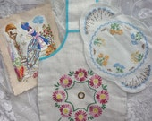 VINTAGE EMBROIDERY BUNDLE..1930s 1940s..hand embroidered..Crinoline Lady..Yarn Holder..Napkin Pocket..picture..knitting wool bag..flowers..